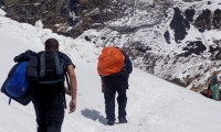 The trail get snowy as you gain altitude