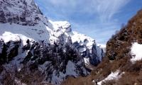 Mountains wall near base camp