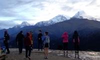 Tourist gazing at the mountains